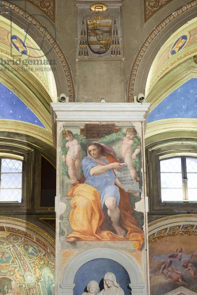 Prophet Isaiah, fresco by Raphael in the basilica di sant' Agostino in Campo Marzio in Rome, Italy