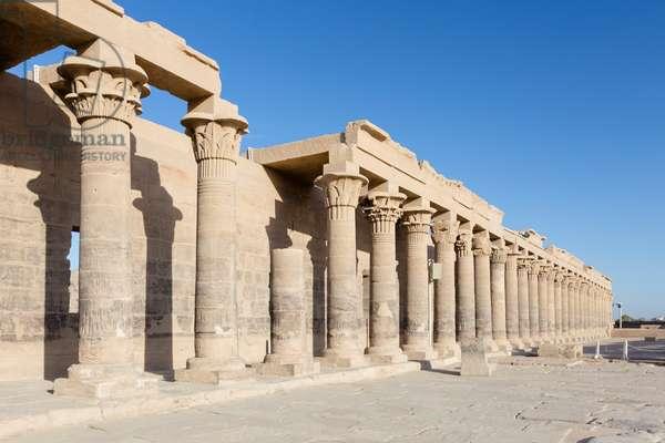 Colonnade of forecourt, Philae temple, Aswan, Egypt