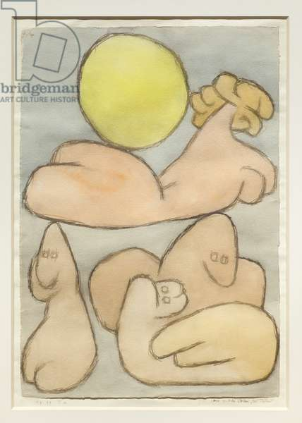 The torso and her family with the full moon, 1939 (w/c on paper & cardboard)