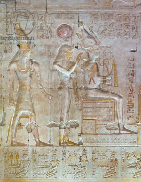 Coloured relief, temple of Seti I, Abydos, Egypt