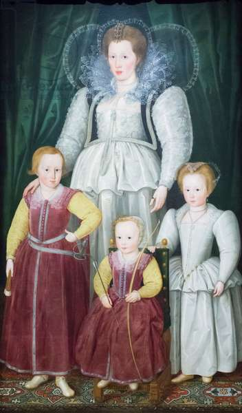 Anne, Lady Pope with her children, 1596 (oil on canvas)