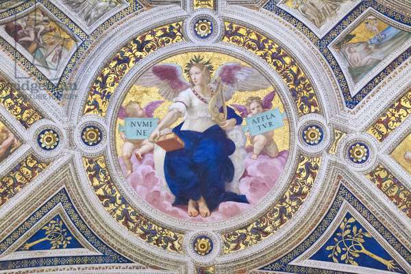 Poetry, 1508, Raphael, 1483-1520, ceiling of the room of the signature, Raphael rooms, fresco, Vatican museums, Rome, Italy