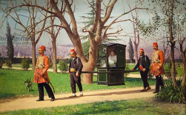 The daughter of the English ambassador riding in a palanquin, 1896 (oil on canvas)
