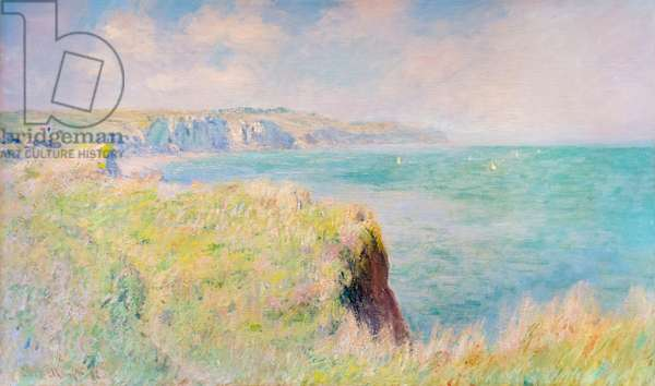 Cliffs and sailboats at Pourville, 1882 (oil on canvas)