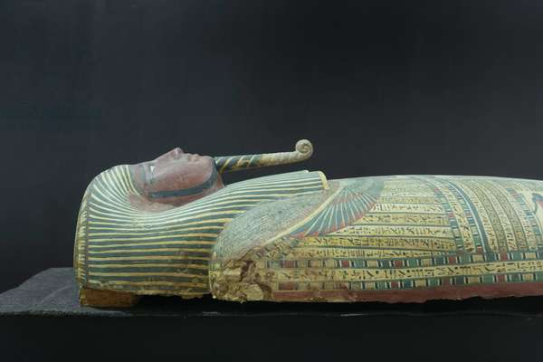 Anthropoid coffin containing the mummy of the priest of Mnotu, from Deir el Bahari (painted plaster, linen and wood)