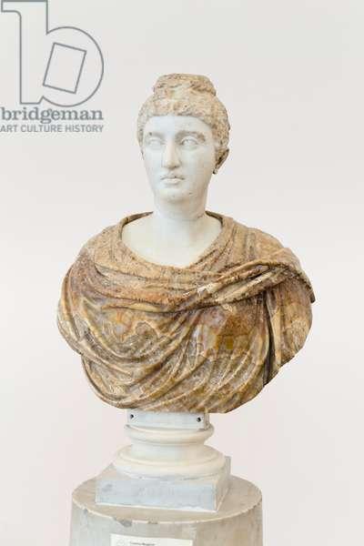 The elder Faustina set in a modern alabaster bust, 138-141 AD (marble)