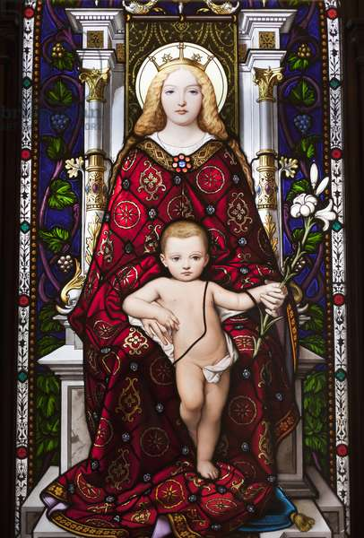 Madonna Enthroned (stained glass)