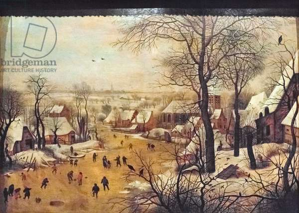 Winter landscape with skaters, (painting)
