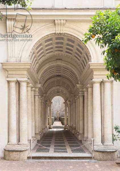 Borromini perspective or colonnade, Spada gallery, Rome, Italy