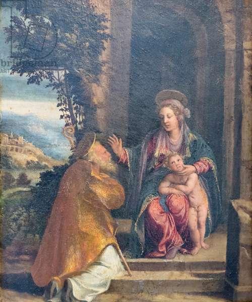 Virgin with Child and bishop, 1535-40 circa, Battista e Dosso Dossi (oil on panel)