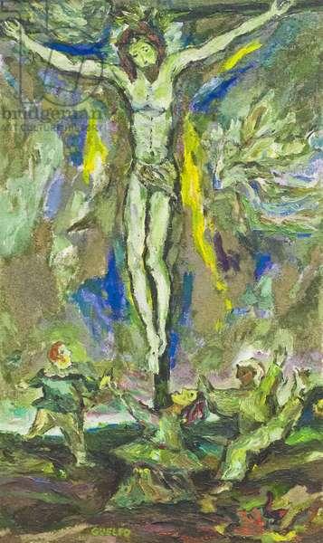 Crucifixion, 1960 (oil, tempera & sand on canvas)
