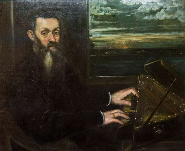 Portrait of an old gentleman at the spinet