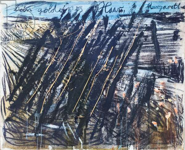 Thy golden hair Margarethe, 1981, (acrylic, emulsion, charcoal and straw on burlap)