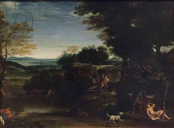 Landscape with Sylvia and a satyr, (oil on canvas)
