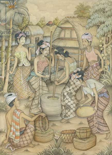 Pounding rice, c.1980 (acrylic on canvas)