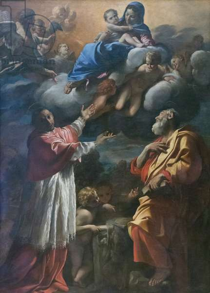Madonna and Child with St. Charles Borromeo and St. Bartholomew, 1616-17, Giovanni Lanfranco (oil on canvas)