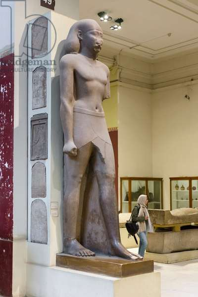 Statue of an official named Horemheb, ptolemaic period, 332-30 BC, granite, from Naukratis, Egyptian Museum, Cairo, Egypt