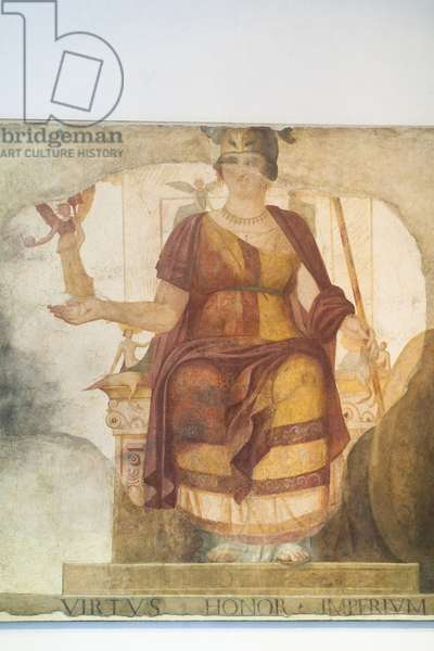 Wall fresco depicting a seated Venus, integrated as Rome, so called Barberini Goddess,  first quarter of the fourth century AD from Rome, national museum of Rome (museo nazionale romano), Rome, Italy