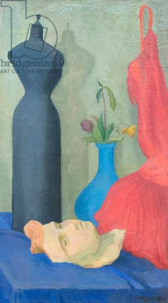 Still life with mask, mannequin and red dress, 1940 (oil on canvas)