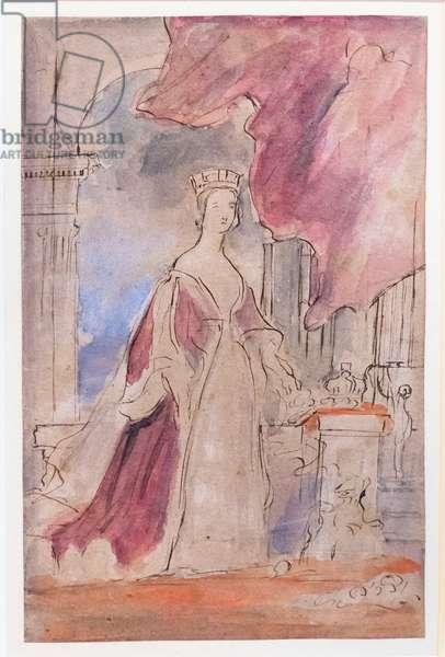 Queen Victoria, 1840 circa, (pen and ink and watercolour)