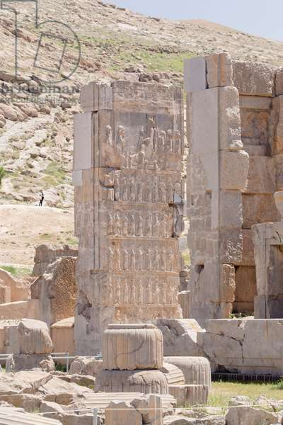 Relief on a pillar of the Palace of 100 columns, Persepolis, Iran (stone)