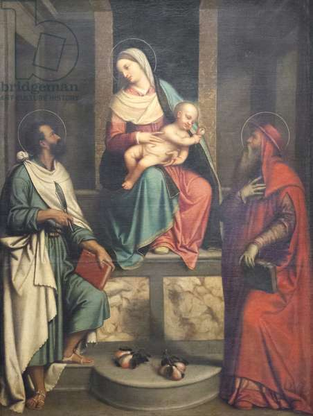 Madonna with Child and Saints (oil on canvas)