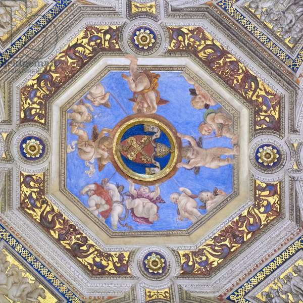 Della Rovere emblem, 1508, Raphael, 1483-1520, ceiling of the room of the signature, Raphael rooms, fresco, Vatican museums, Rome, Italy
