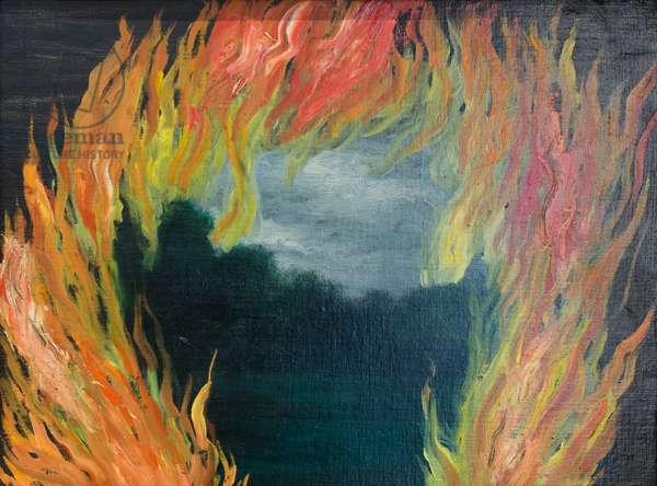 Landscape on fire (Le paysage en feu), 1928, René Magritte (oil on canvas)