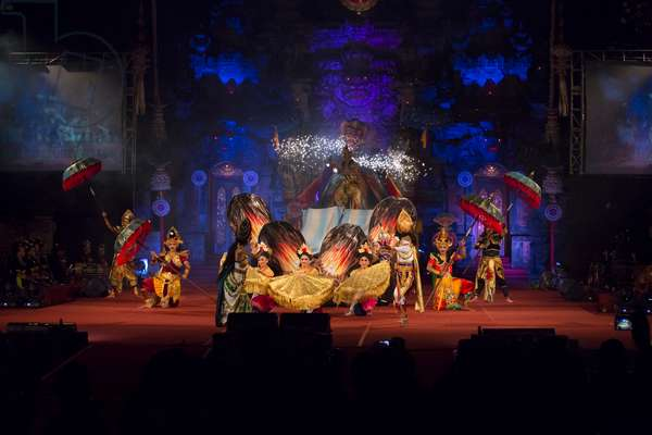 Performance organised by the department of education and youth sport of Bali province, Ardha Chandra amphitheatre, 2015 Bali art festival, Denpasar, Bali, Indonesia