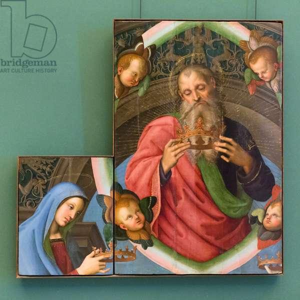 The Eternal Father and the Virgin, 1501, Raffaello Sanzio and Evangelista di Pian del Meleto (tempera on panel)