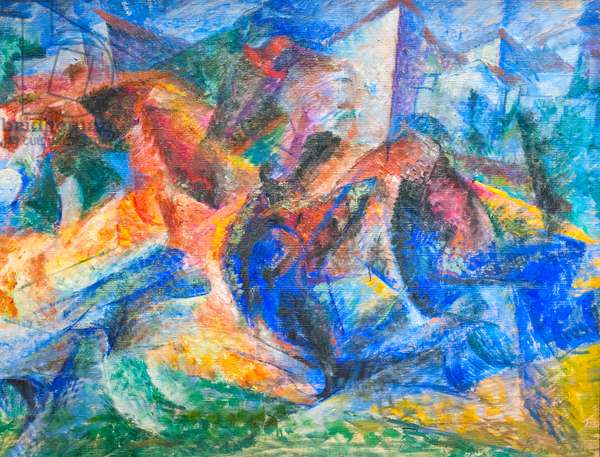 Horse, rider and buildings, 1913-14 (oil on canvas)