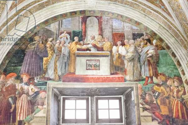 The oath of Leo III, room of the fire in the borgo, 1516-17  (fresco)