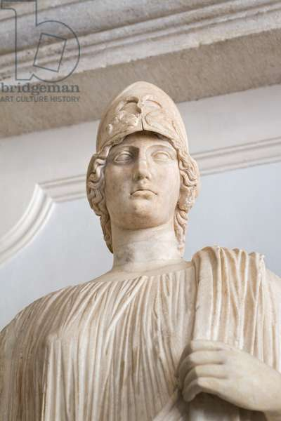 Ancient marble statue after the goddess Athena (marble)