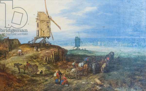Landscape with windmills, 1607, (oil on panel)