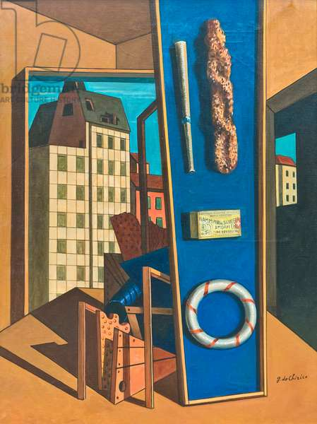 Metaphysical interior with biscuits, late 1960s, (oil on canvas)