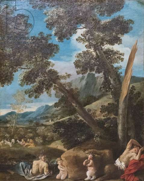 Landscape with satyrs, 17th century (oil on canvas)