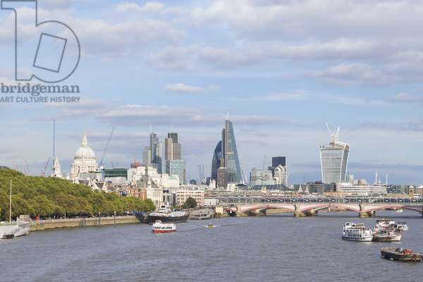 London skyline and river Thames as seen from Waterloo bridge, London, England