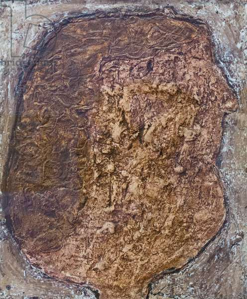 Fleshy face with chestnut hair, 1951, (mixed media on board)