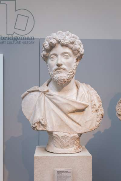 Bust of Marcus Aurelius in a fringed cloak, about 160-170 AD