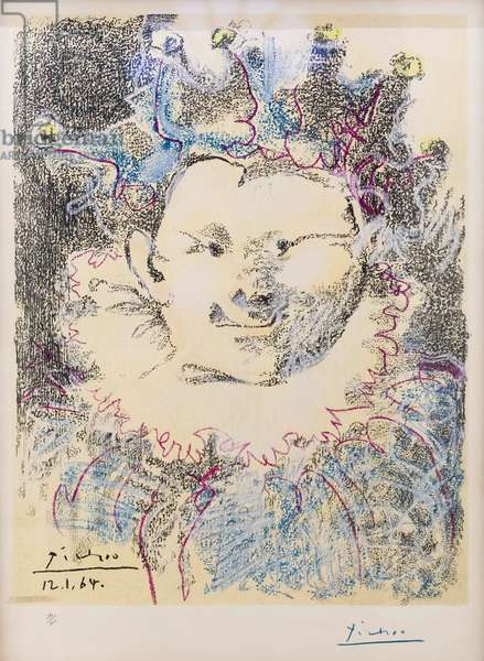 Clown, 1964, Pablo Picasso, lithography, cm 73x53, Jahan Nama museum and gallery, Niavaran palace complex, Tehran, Iran