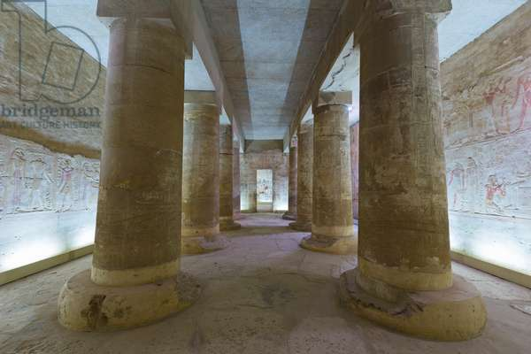 Inner sanctuary, temple of Seti in Abydos, Egypt