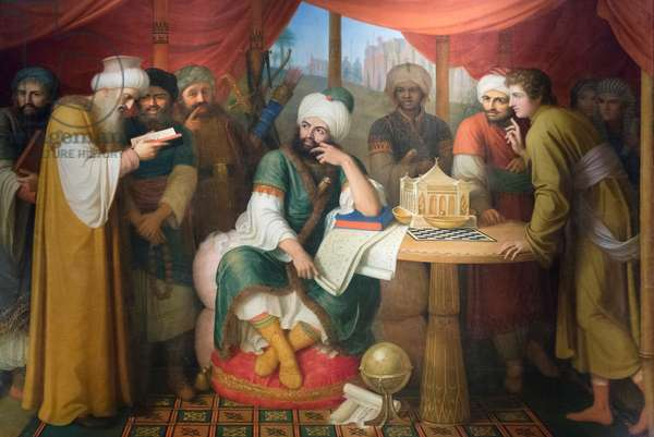 Harun Al Rashid in his tent with the wise men of the east, 1811-13, Gaspare Landi (oil on canvas)