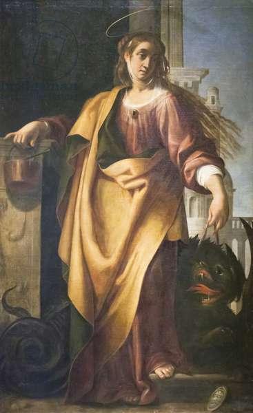 Saint Martha and the Tamed Dragon (oil on panel)