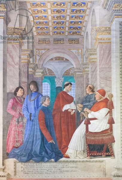 Sixtus IV appointing Bartolomeo Platina Prefect of the Vatican Library, c.1477 (fresco)