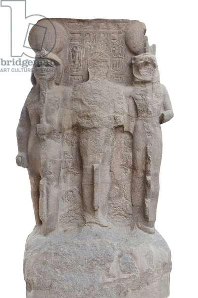 Triad of Memphis, 1279-1213 BC circa, (red granite)