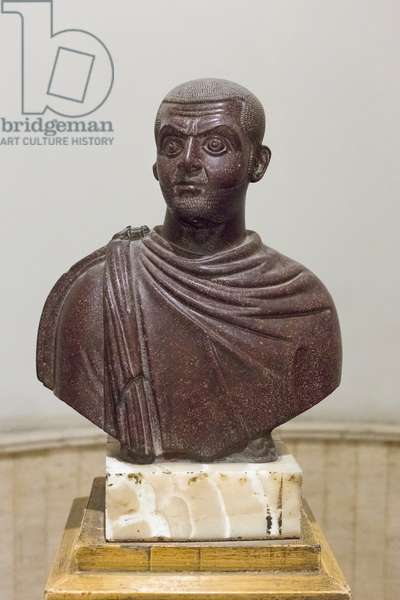 Bust of emperor Galerius, early 4th century AD, porphyry, Egyptian Museum, Cairo, Egypt