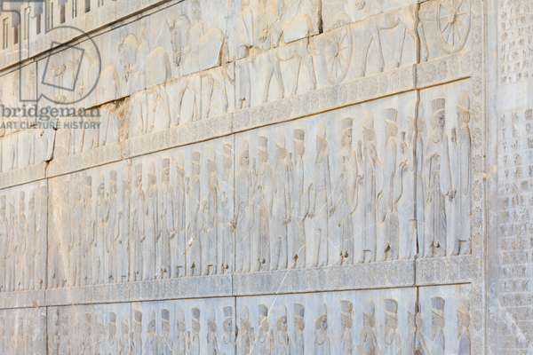 Bas reliefs at the walls of Apadana palace and staircase, Persepolis, Iran (sandstone)