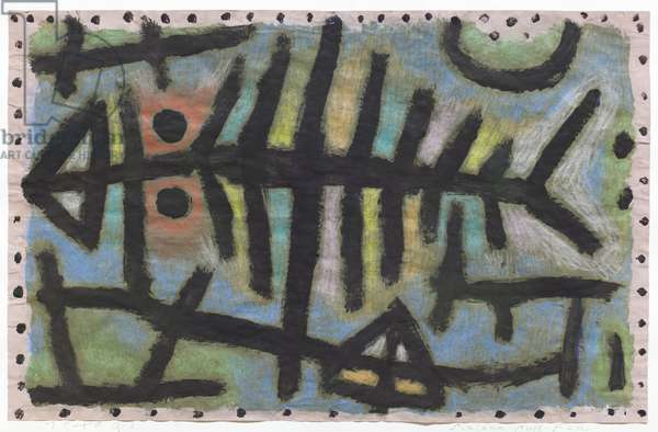Mud-woodlouse-fish (Schlamm Assel Fisch), 1940, (coloured paste & grease crayon on newspaper on cardboard)