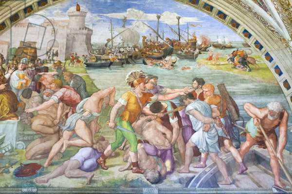 The battle of Ostia, 1516-1517, Raphael, 1483-1520, fresco,  room of the fire in the borgo ,Raphael's rooms, vatican museums, Rome, Italy
