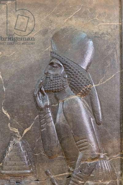 Audience scene of Darius I, detail, from Persepolis, Achaemenid period (stone)